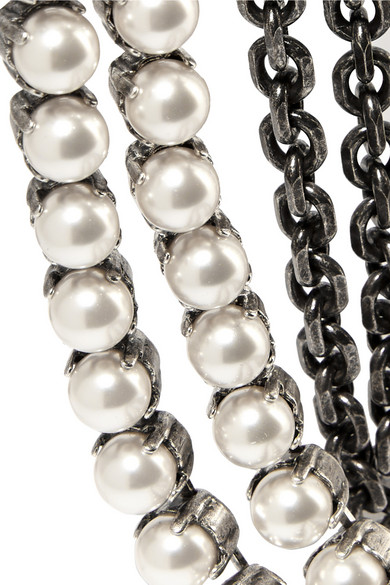 Lanvin | Mariepol burnished silver-plated faux pearl necklace | NET-A-PORTER.COM