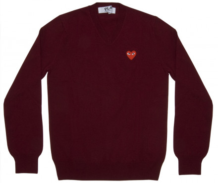 DSM E-SHOP : Red Play V Neck Sweater (Burgundy)