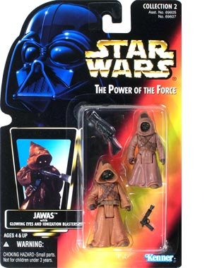 Amazon.com: Star Wars Power of the Force Jawas Red Card Action Figures with Glowing Eyes and Blaster Pistol: Toys & Games