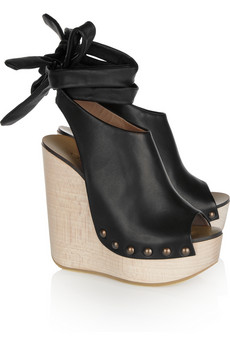 Chloé | Studded leather wedge sandals | NET-A-PORTER.COM