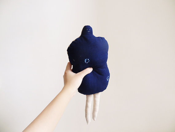 Indigo Peanut Doll by furzechan on Etsy