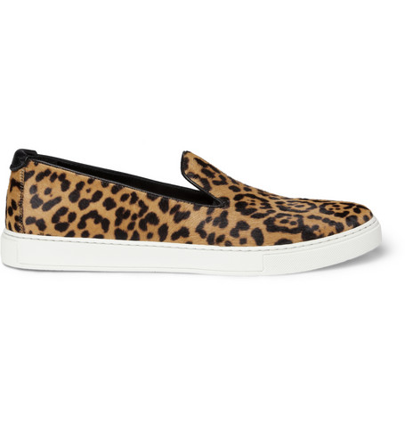 Yves Saint Laurent Leopard-Print Calf Hair Sneakers | MR PORTER