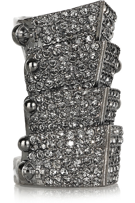 Vivienne Westwood Armor gunmetal and diamanté ring « Jewelry Trends