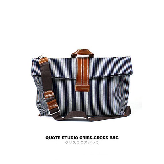 QUOTE CrissCross Bag leather n canvas Blue stripe by QuoteShop
