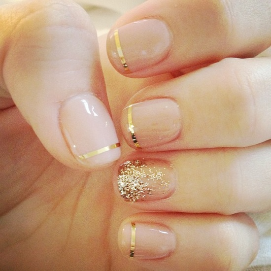 Nails / Nude + gold