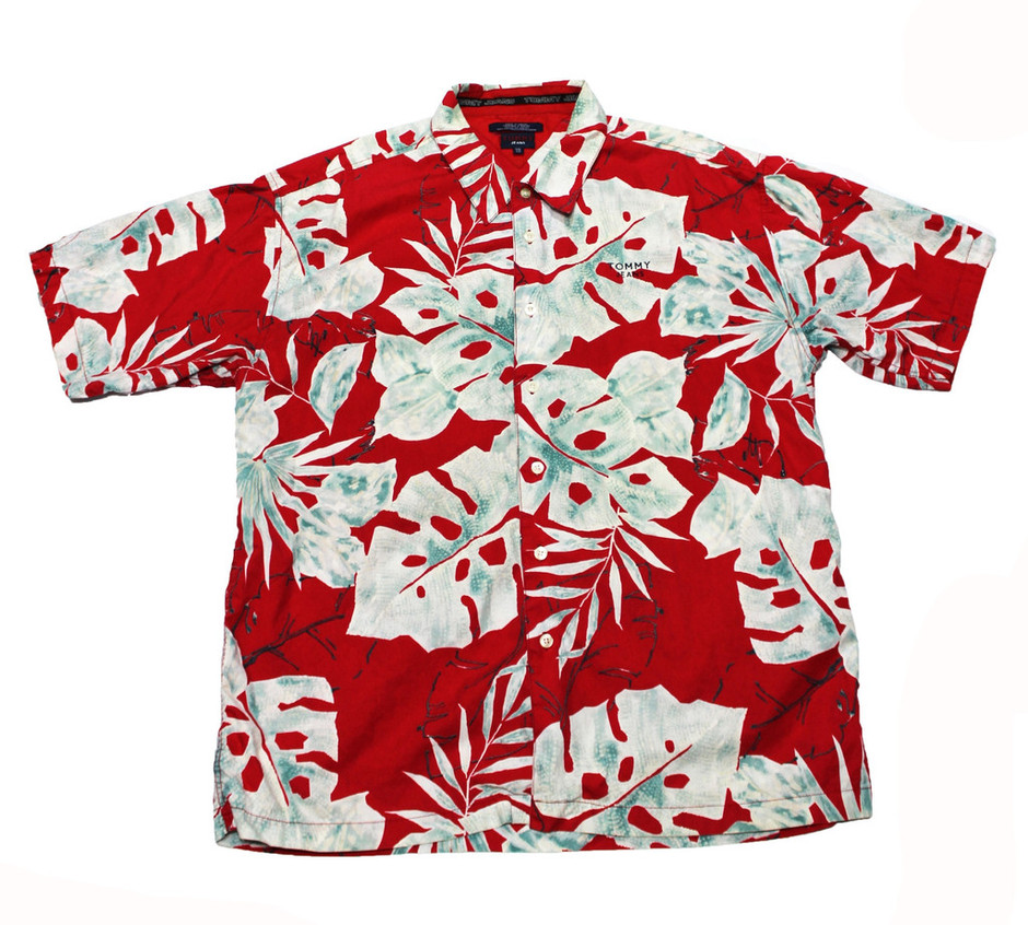 Vintage 90s Tommy Jeans Red Hawaiian Shirt Mens Size XXL   Vintage Mens Goods