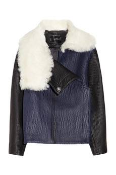 Proenza Schouler Shearling-collared quilted leather jacket NET-A-PORTER.COM