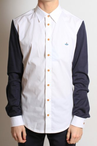 VIVIENNE WESTWOOD 25DL0188 Contrast Jersey Arm Shirt in White - SHIRTS from Autograph UK