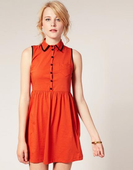ASOS エイソス Waisted Cute Dress with Contrasting Button (Burnt ocre) ワンピース - ASOS(エイソス)専門店 ASOSオンリードットコム