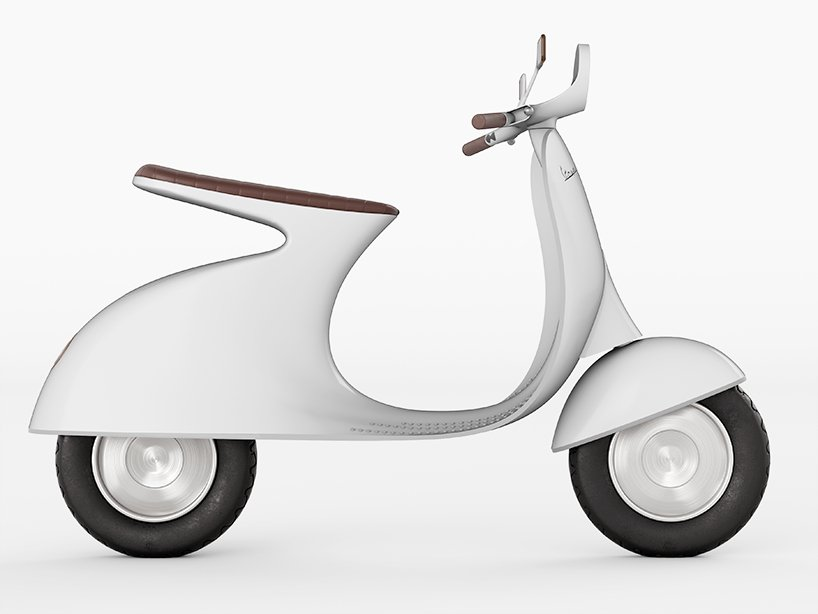 giulio iacchetti reimagines vespa with a cantilevered seat and electric motor