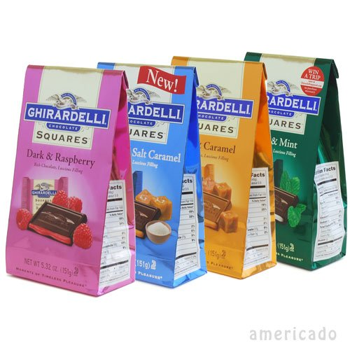 Amazon.co.jp: ギラデリー・チョコレート スクエアズ 【フィリング入りセット】4パックセット GHIRARDELLI Squares 4pack: 食品&飲料