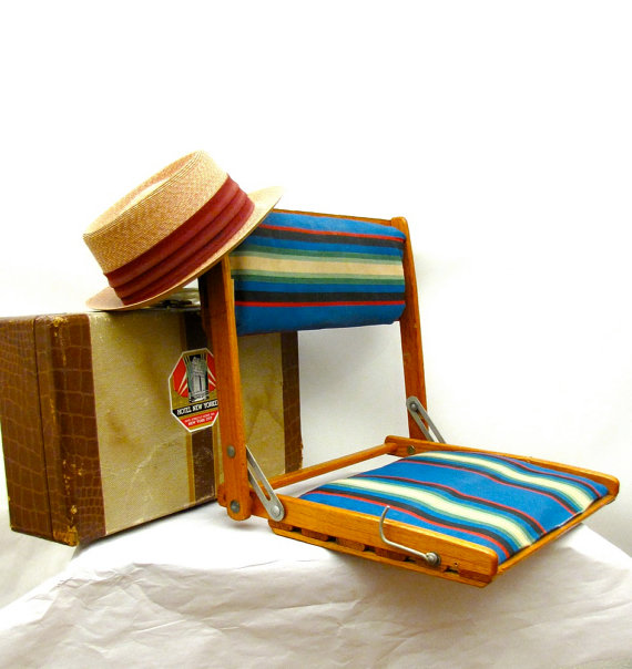 Summer Camp vintage folding oak and striped canvas by AustinModern