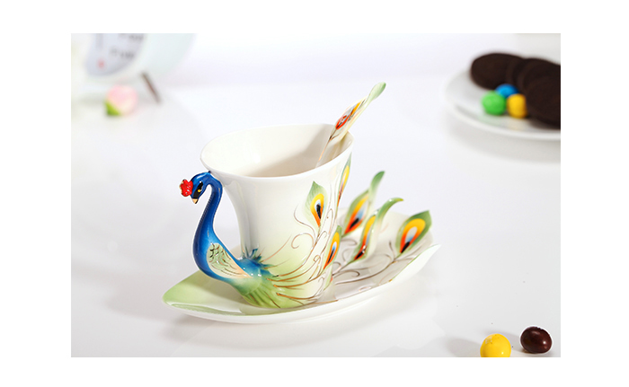 Enamel Peacock Cup Set, Green on Claybox