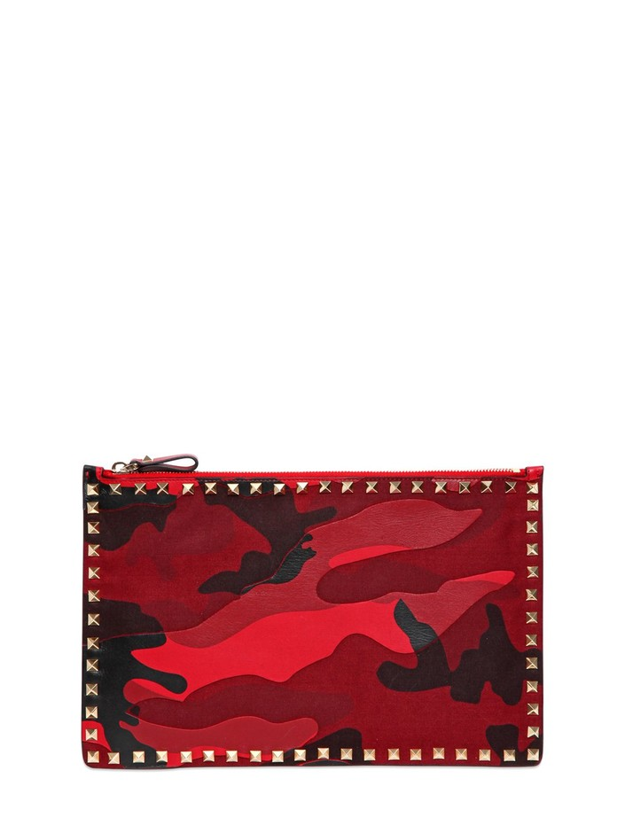 VALENTINO - CAMOUFLAGE PATCHWORK POUCH - LUISAVIAROMA - LUXURY SHOPPING WORLDWIDE SHIPPING - FLORENCE