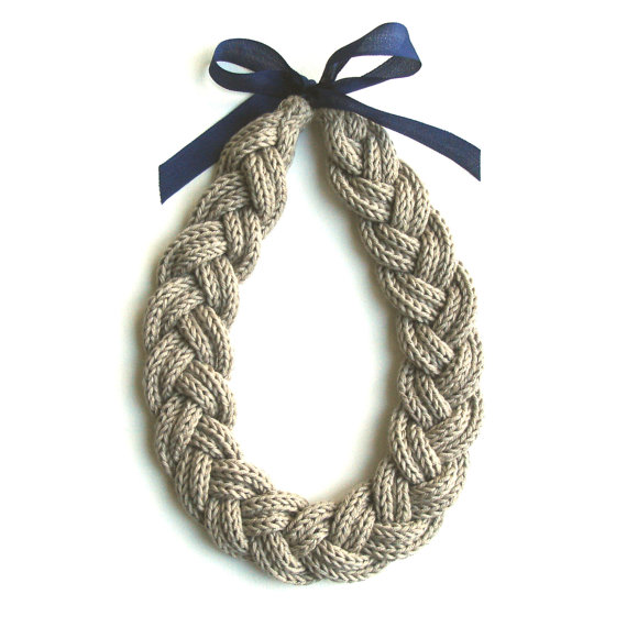Plait Necklace handmade in organic fairtrade by AAliciaAccessories