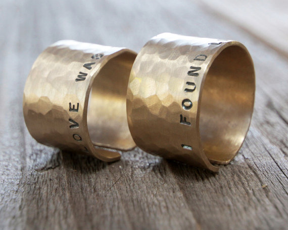 Valentine's Day For Him For Her Couples Rings Rustic by amywaltz