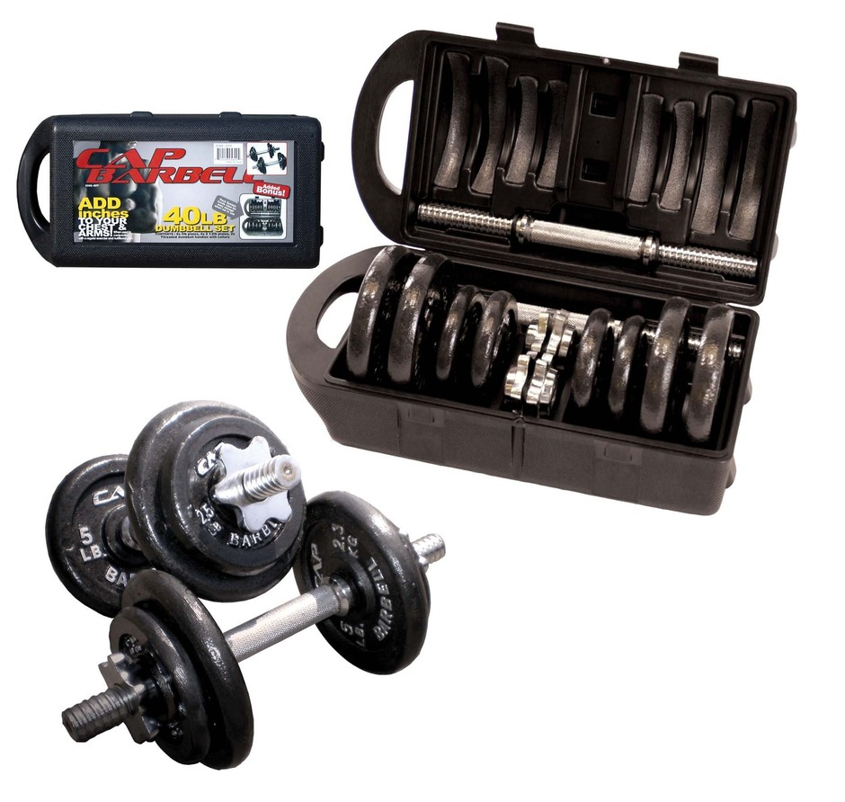Amazon.com: Cap Barbell 40-Pound Dumbbell Set: Sports & Outdoors