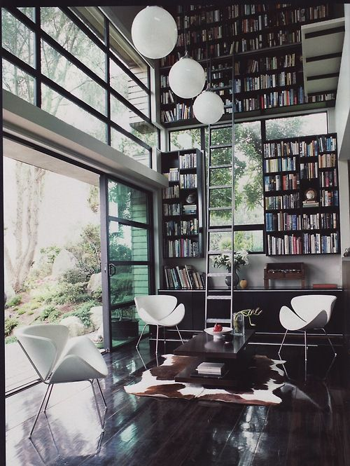 Sweet library/study + bookshelves | BoOkS! and then some...