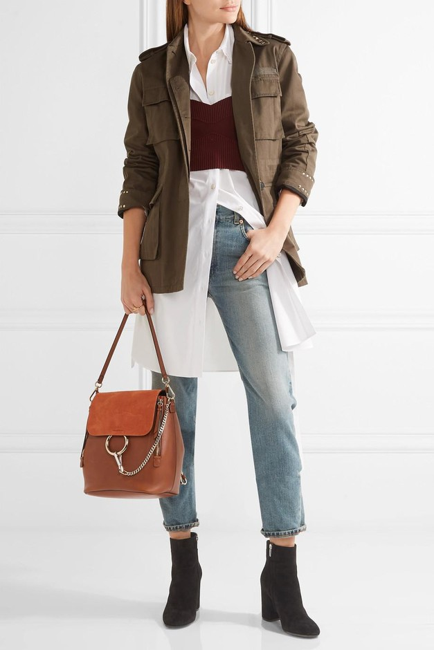 Chloé | Faye medium leather and suede backpack | NET-A-PORTER.COM
