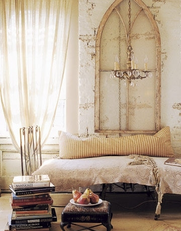 bed, books, chandelier, cream, curtains, cushions - image #2003 on Favim.com