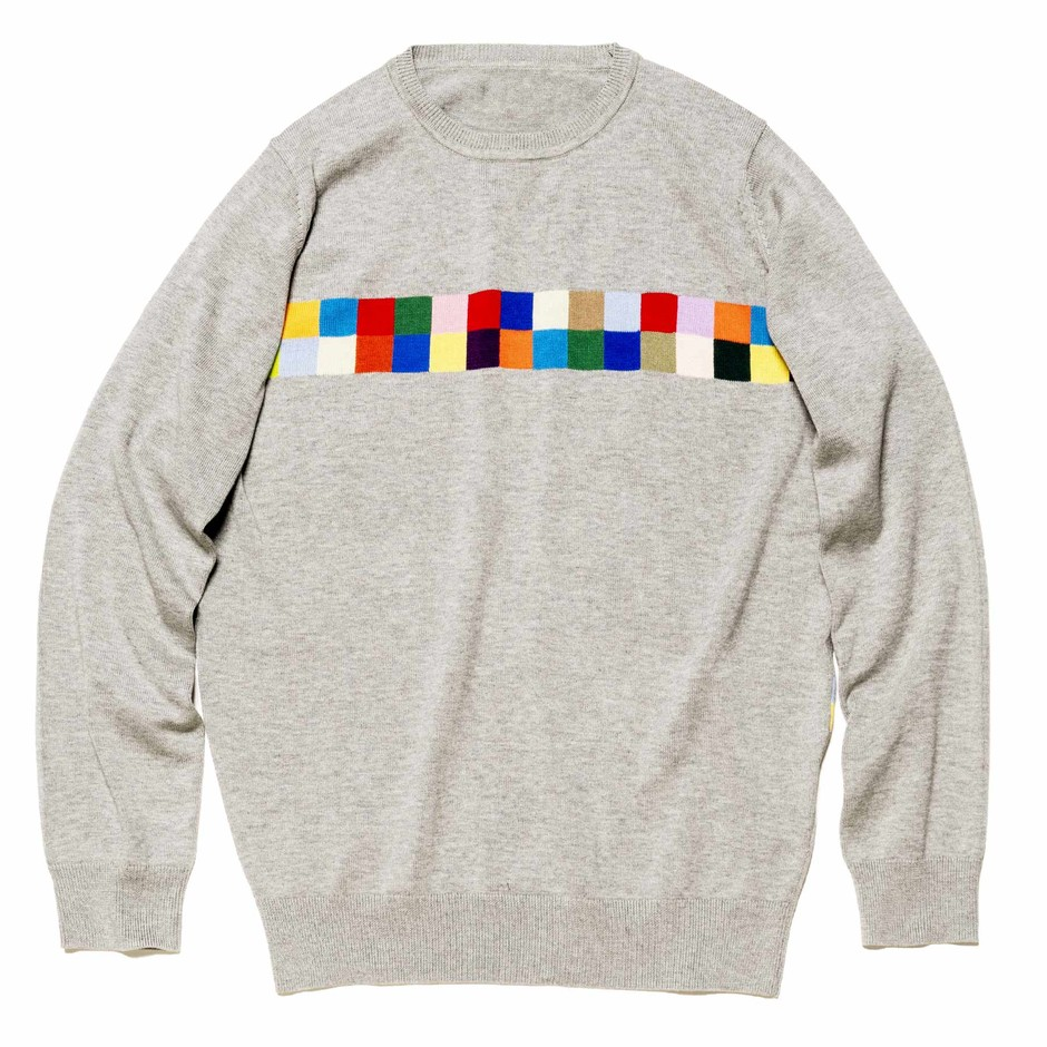 SOPH.   COLOR CHART CREW NECK KNIT(2 GRAY):