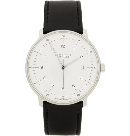 Max Bill by JunghansStainless Steel and Leather Automatic Watch|MR PORTER
