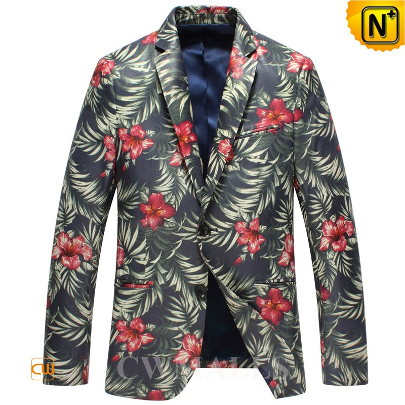Printed Leather Blazer for Men CW816123