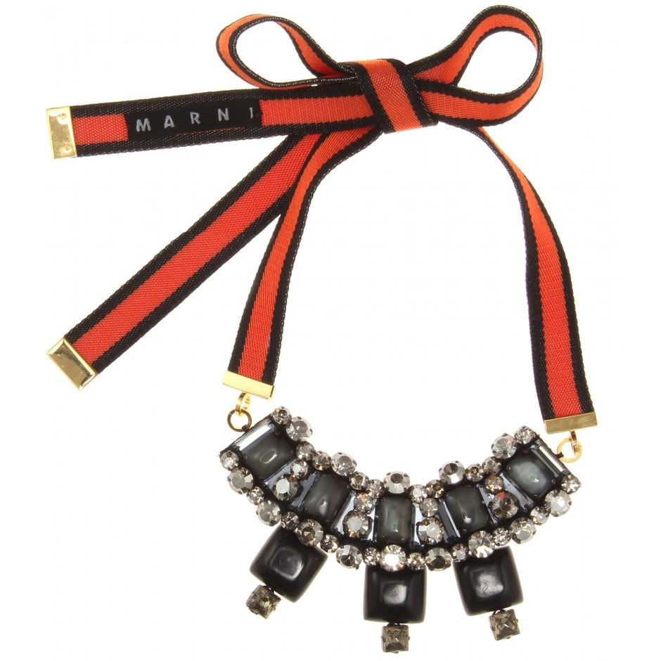 mytheresa.com - Crystal-embellished ribbon necklace - necklaces - jewelry - accessories - Luxury Fashion for Women / Designer clothing, shoes, bags