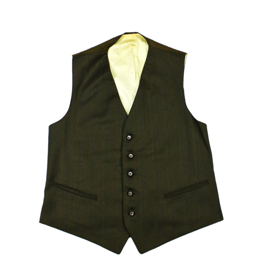 Vintage 1970s Pinstripe Vest in Army Green Mens Size Small | Vintage Mens Goods