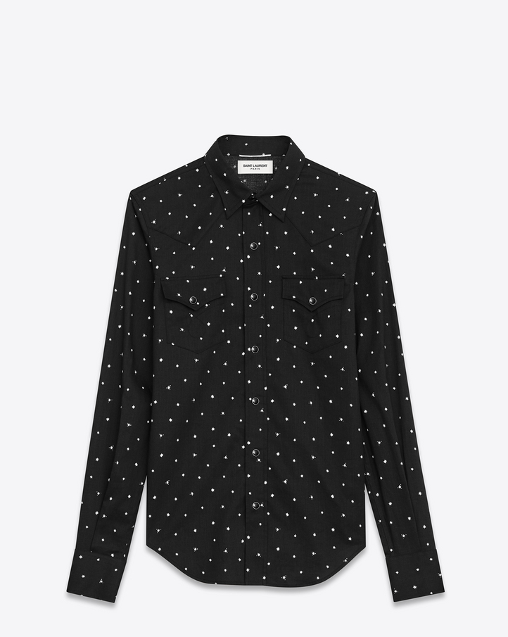 Saint Laurent Classic Western Shirt In Black And White Rinse Star Printed Cotton | YSL.com