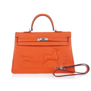 Orange Horse and Cart Logo Hermes Kelly Bags 35CM With SHW