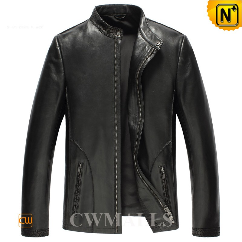 Embossed Leather Jackets for Men CW850401