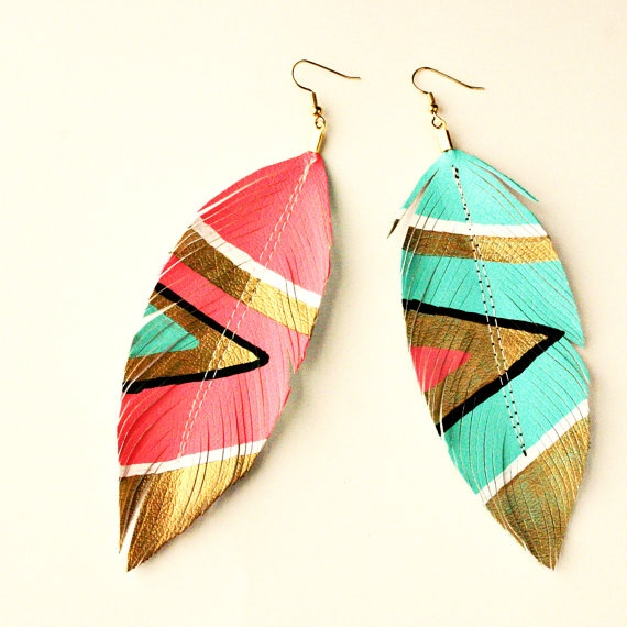 Neon Aztec Leather Feather Earrings by Love Sexton | My Style