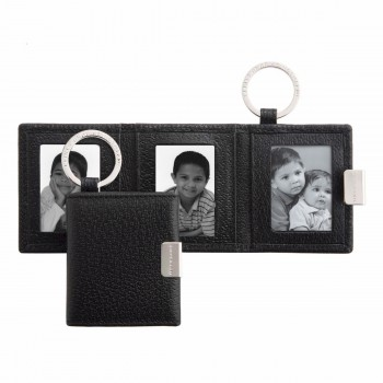 Folding Triple Photograph Frame Key Ring, Black Pigskin Collection, Key Rings, Smythson