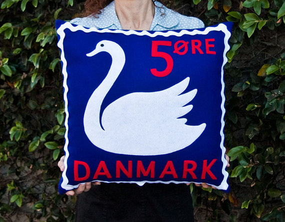 Danish swan stamp cushion cover by TouchWoodDesign on Etsy