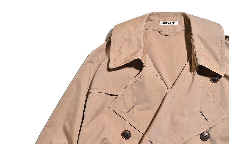 Finx Polyester Big Trench Coat-Beige Chambray