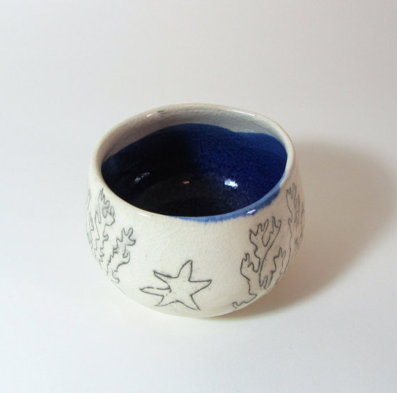 Seascape ceramic bowl for use or decoration by smallspells on Etsy