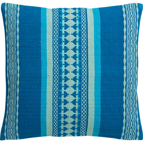 """saudades blue 16"""" pillow in brasil collection   CB2"""