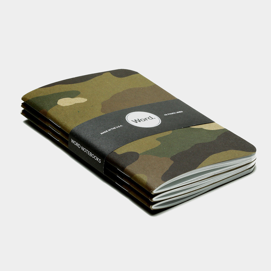 Camo (camouflage) Pocket Notebooks by Word. – Word Notebooks