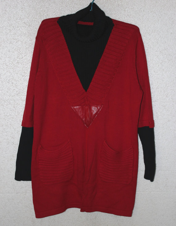 Red cotton high collar long loose coat sweater dress by MaLieb