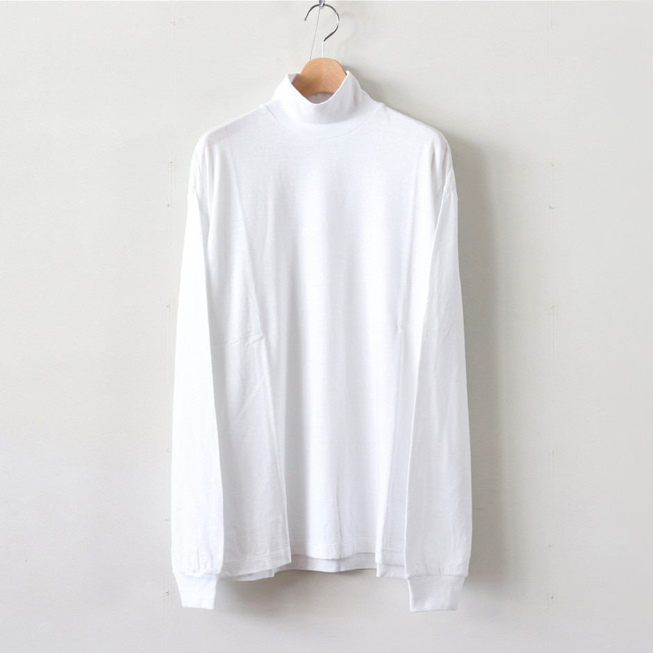 AURALEE|MEN-SEAMLESS HI NECK L/S TEE #WHITE [A8AT03ST]