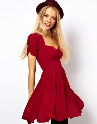 ASOS ミディドレス Mini Dress With Covered Buttons RED2 送料無料 - ASOS 通販