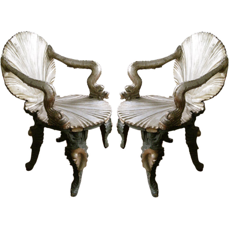 1STDIBS.COM - Balsamo - Pair of Italian Venetian Silver Gilt 19thC Grotto Arm Chairs
