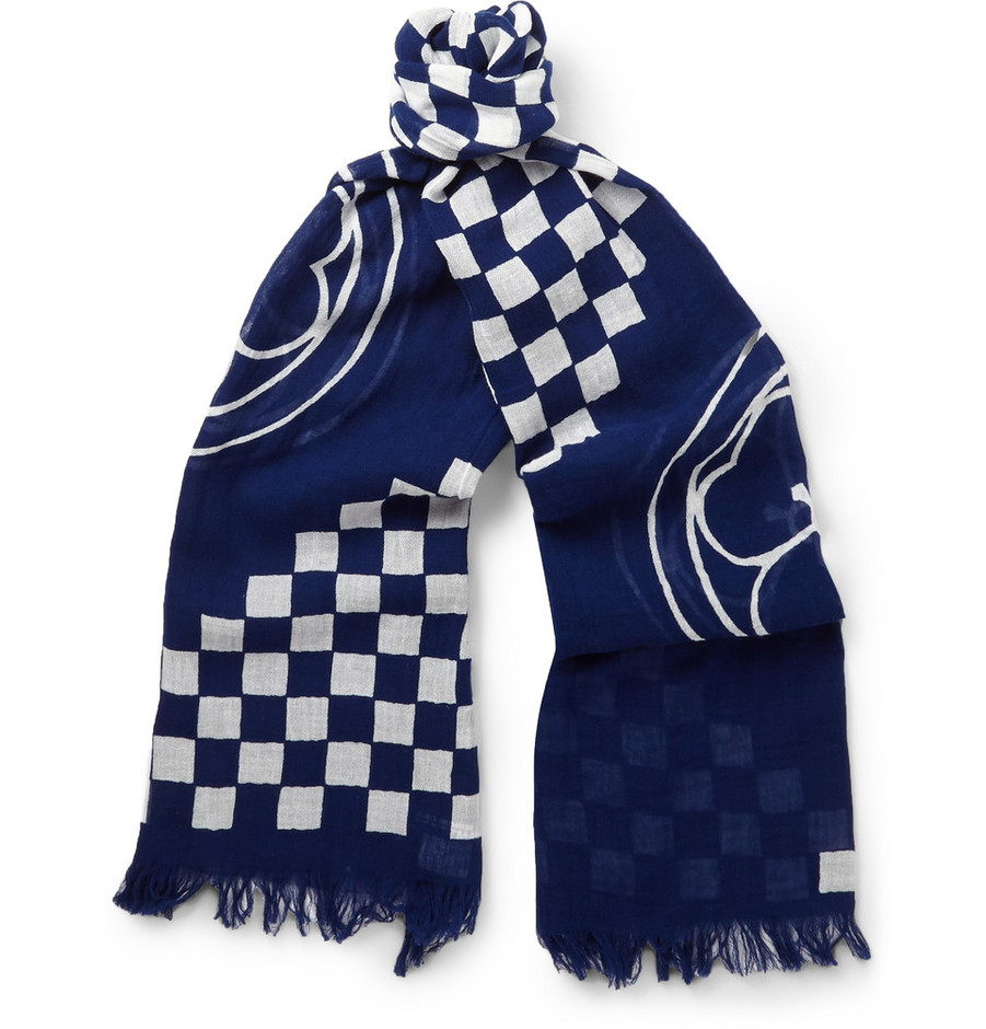 Junya Watanabe - Printed Cotton and Linen-Blend Scarf | MR PORTER