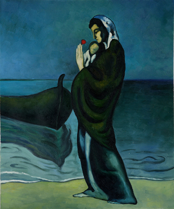 Maternity by the Sea 1902 Oil Painting Reproduction by Pablo Picasso