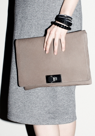 Leather Clutch | Light Grey | & Other Stories