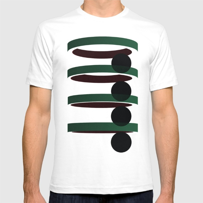 Geometric coloured architectural but abstract urban circles and elipses in green and red graphic T-shirt by Letsdothis | Society6