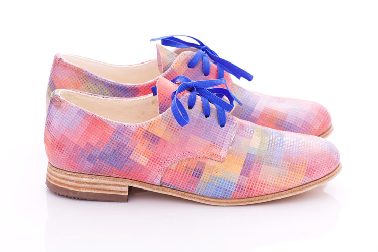 Pastel pixels Leather oxford shoes for woman by Pleasemachine