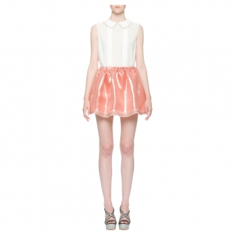 【LASO ラソ】【'12Resort】Miu Miu LUREX GAZAR FULL MINISKIRT in CAMEO ミュウミュウ スカート