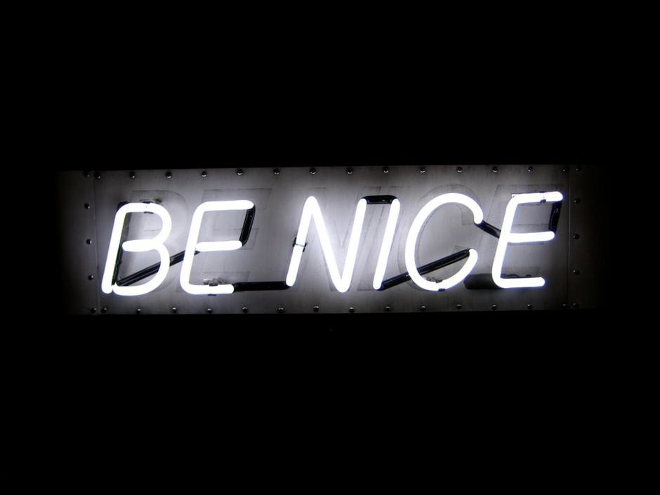 Neon Sign BE NICE White and White w/ Black by MarcusConradPoston